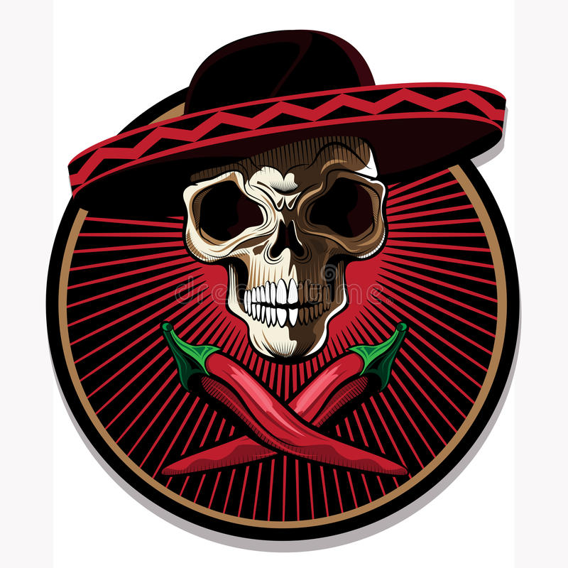 Mexican Skull Emblem Or Icon Stock Vector Illustration