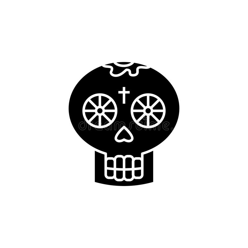 Mexican Skull icon. Element of tattoo icon for mobile concept and web apps. Glyph style Mexican Skull icon can be used for web and stock illustration