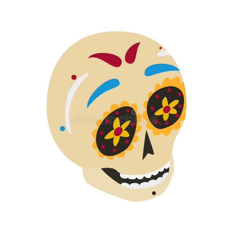 Mexican skull icon, isometric 3d style vector illustration