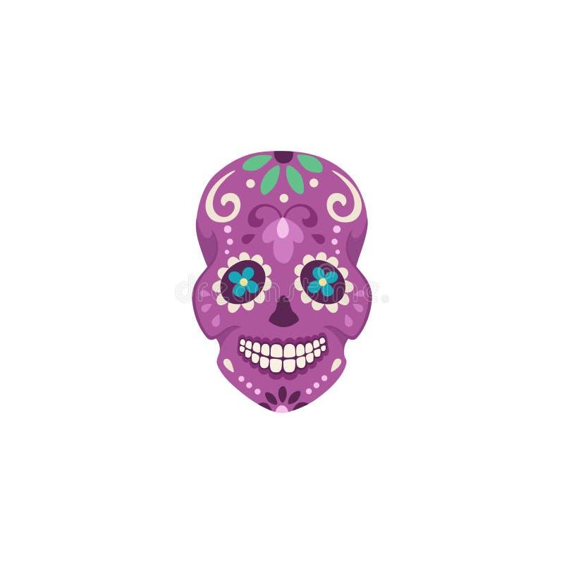 Mexican skull illustration. Illustration of mexican sugar skull. Day of the dead. Dia de los muertos. Calavera vector illustration isolated on white background royalty free illustration