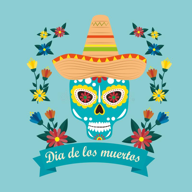 Mexican skull mask with hat to celebrate event vector illustration