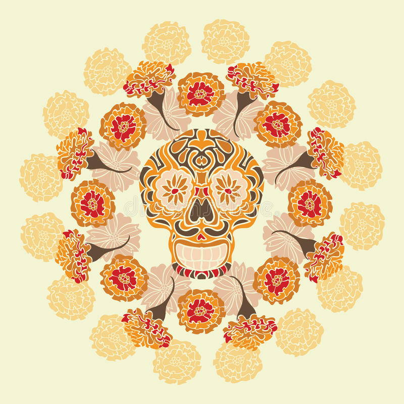 Mexican skull with merigold pattern royalty free illustration