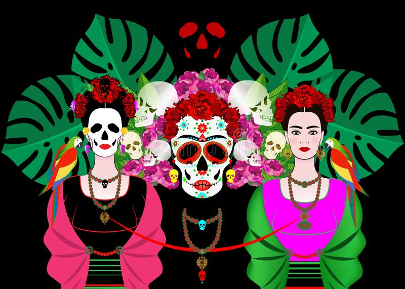 Mexican skull, Calavera with flowers. Decoration for Day of the Dead, Dia de los Muertos. Halloween poster background,. Mexican skull, mexican woman with a stock illustration