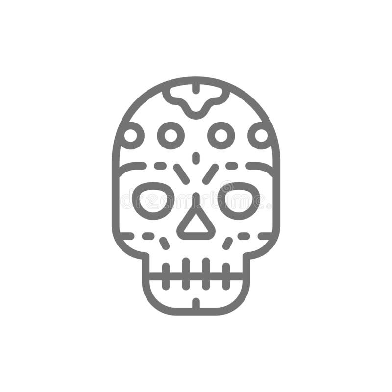 Mexican skull, santa muerte mask, Day of the Dead line icon. royalty free illustration