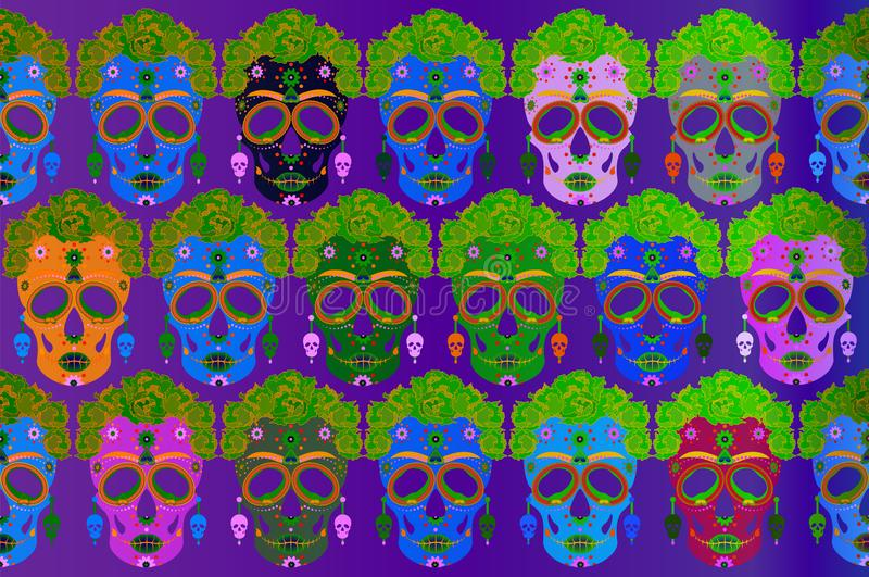 Mexican skull seamless pattern, Calavera with flowers. Decoration for Day of the Dead, Dia de los Muertos. Halloween poster. Mexican skull, Calavera with flowers vector illustration