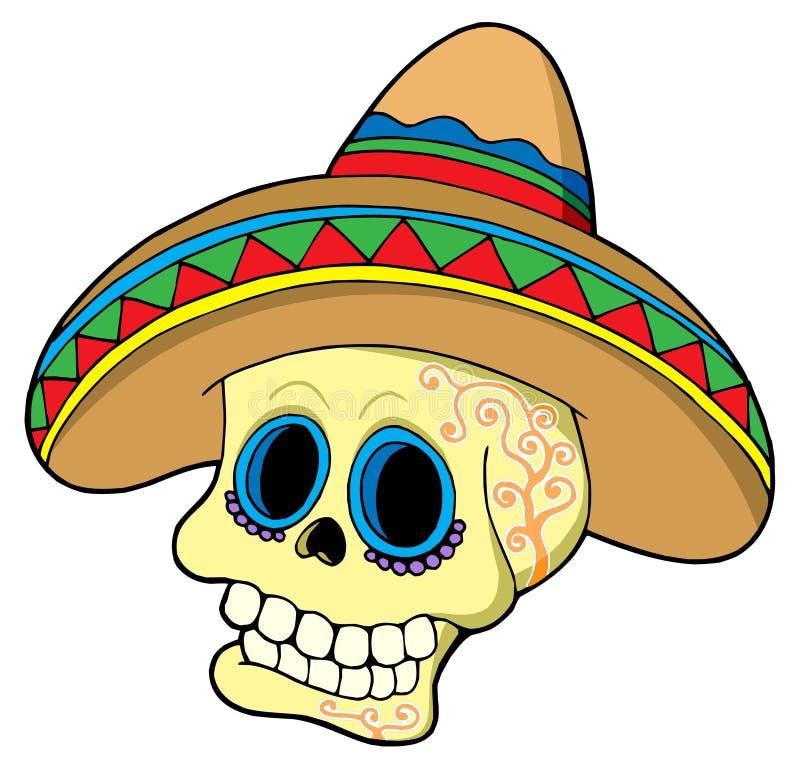 Mexican skull in sombrero stock illustration