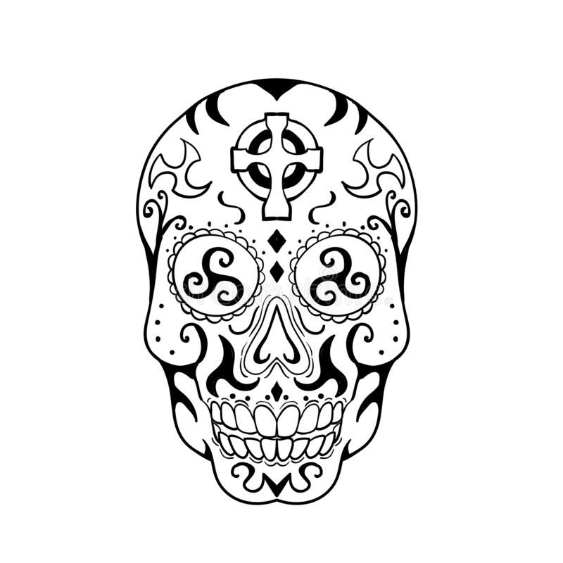 Mexican Skull Triskele Celtic Cross Tattoo vector illustration
