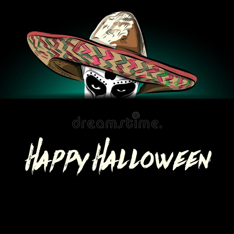 Mexican skull vector with sombrero on background. stock illustration