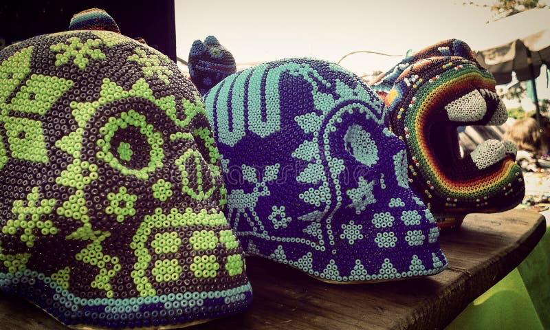 Mexican skulls Huicholes royalty free stock image