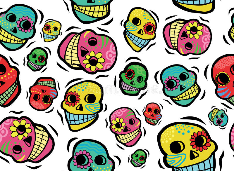 Mexican Skulls Seamless Pattern stock photography