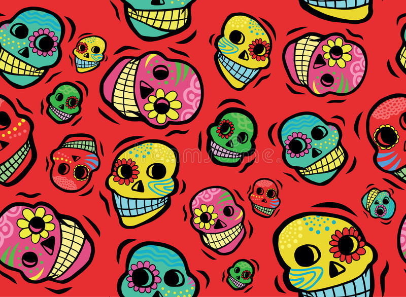Mexican Skulls Seamless Pattern royalty free stock photography