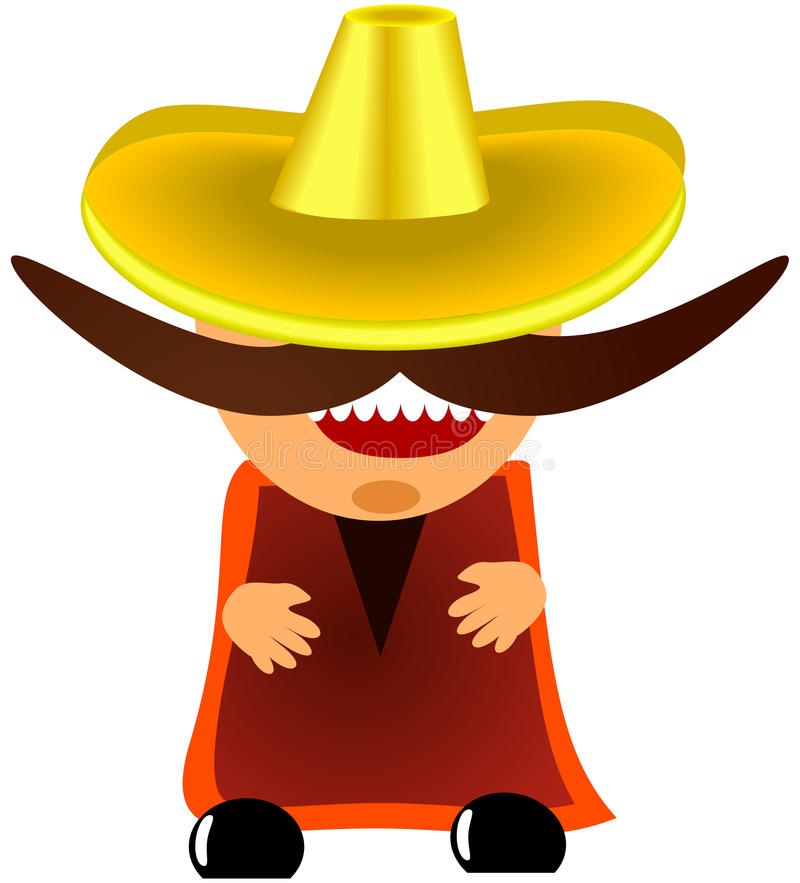 Mexican in sombrero with a big mustache - vector royalty free illustration