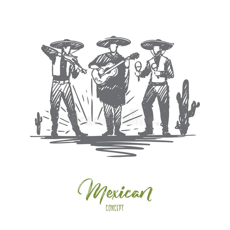 Mexican, sombrero, cinco de mayo, holiday concept. Hand drawn isolated vector. stock illustration