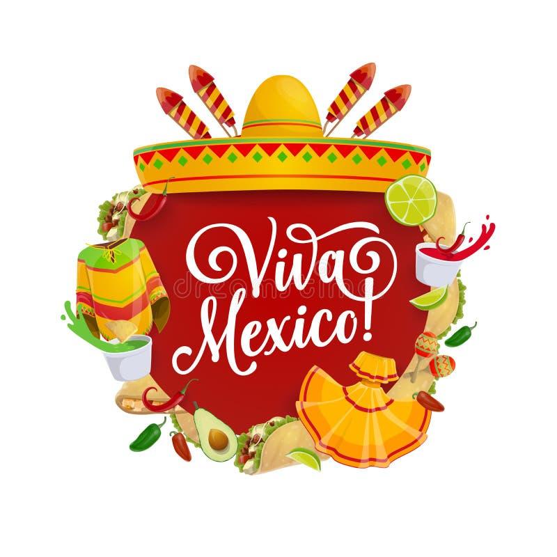 Mexican sombrero, Cinco de Mayo maracas and food. Mexican fiesta party sombrero, food and mariachi costumes vector design of Cinco de Mayo holiday. Chili tacos vector illustration