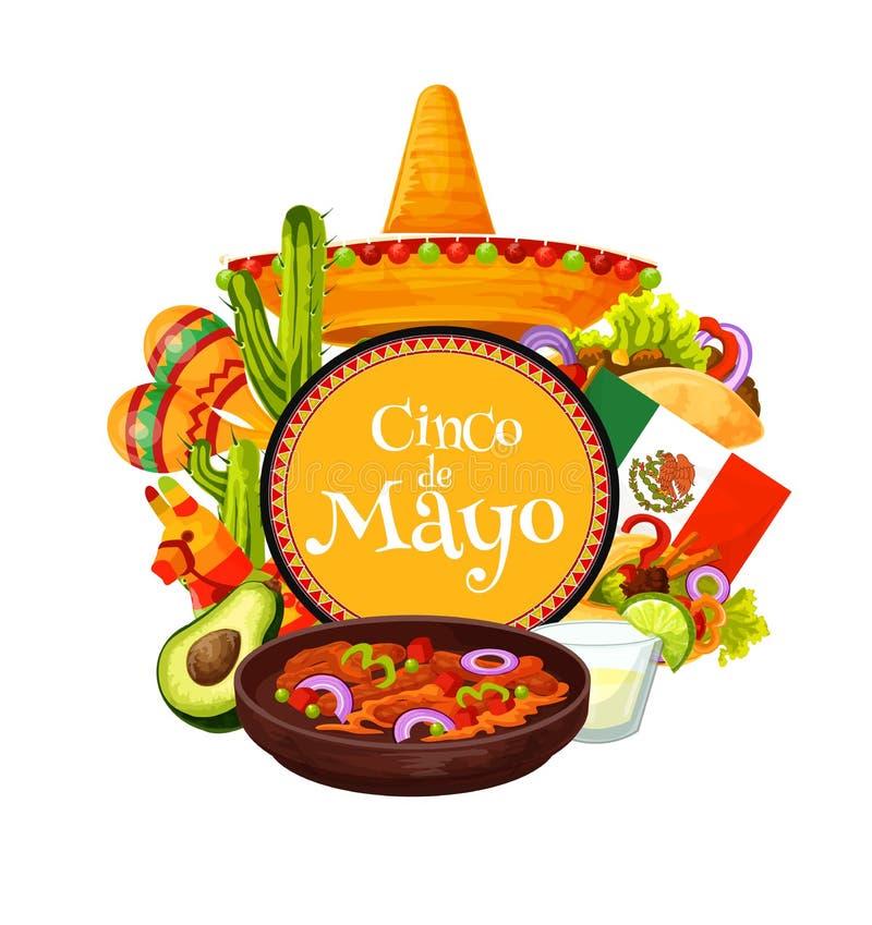Mexican sombrero, fiesta party food. Cinco de Mayo. Cinco de Mayo Mexican holiday fiesta party sombrero and traditional food vector design. Mexico flag, cactus vector illustration