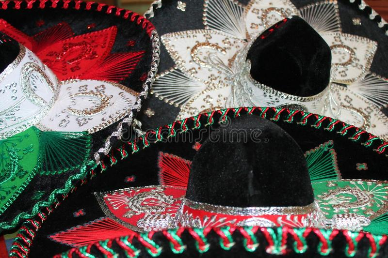 Sombrero mexican fiesta background. Sequin and decorative ornate hat ready stock, photo, photograph, image, picture royalty free stock images