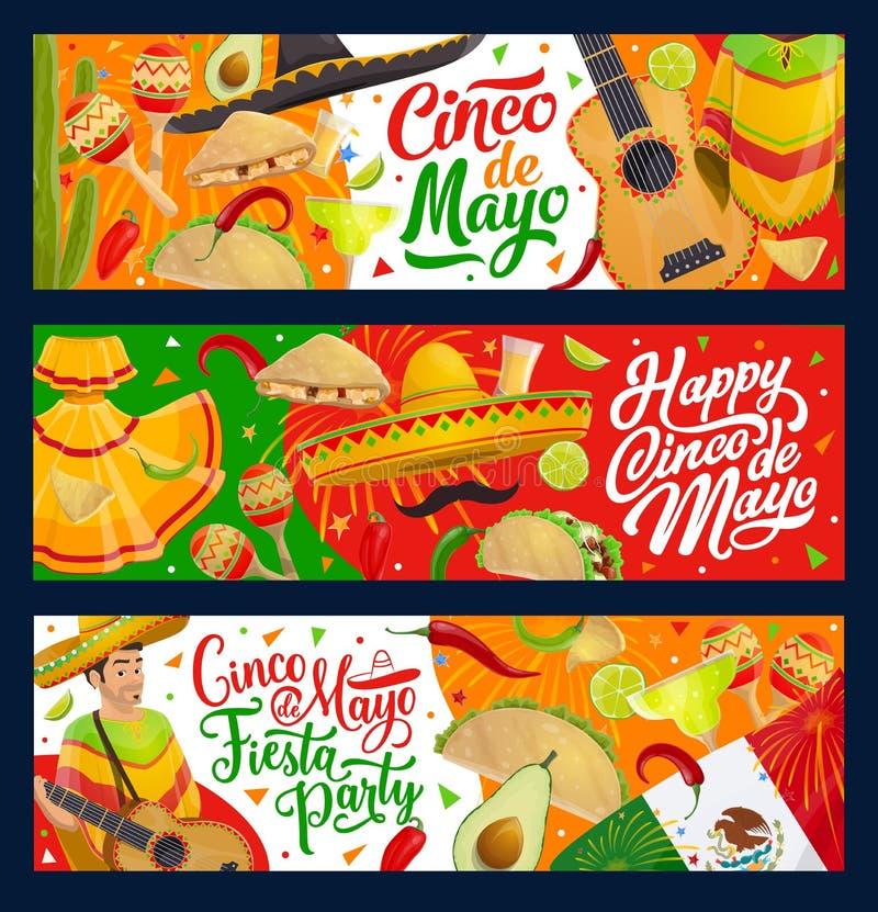 Mexican sombrero, guitar, Cinco de Mayo food. Mexican fiesta party vector design of Cinco de Mayo holiday mariachi with guitar, sombrero and maracas. Tequila royalty free illustration