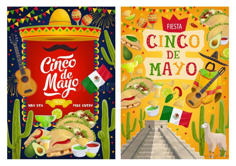 Mexican sombrero, guitar, flag. Cinco de Mayo. Cinco de Mayo fiesta party vector invitations with Mexican holiday sombrero hats, guitars, maracas and moustcahe vector illustration