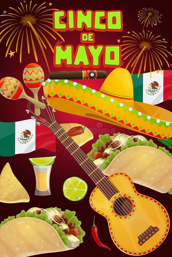 Mexican sombrero, guitar, maracas. Cinco de Mayo. Cinco de Mayo fiesta party vector greeting card with Mexican holiday sombrero, guitar and food. Tequila vector illustration