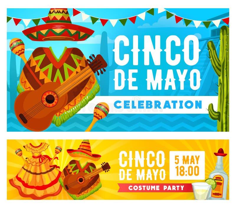 Mexican sombrero, guitar, maracas. Cinco de Mayo. Cinco de Mayo holiday mariachi costume party vector invitations. Mexican fiesta sombrero, guitar and maracas vector illustration