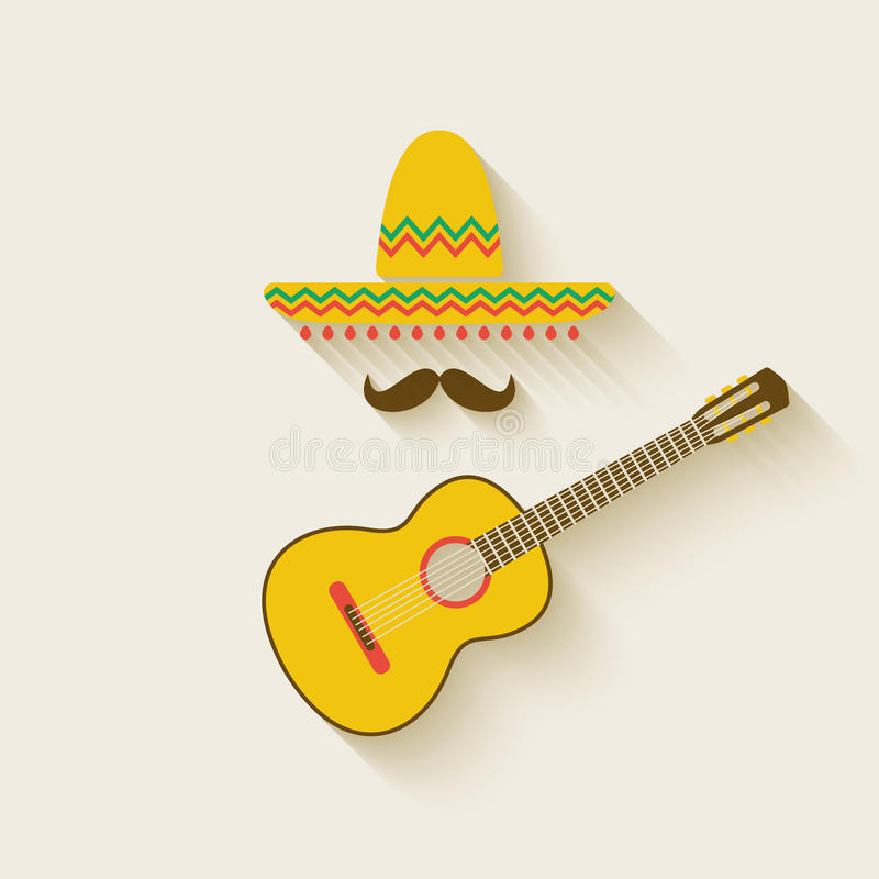 Mexican sombrero and guitar royalty free illustration