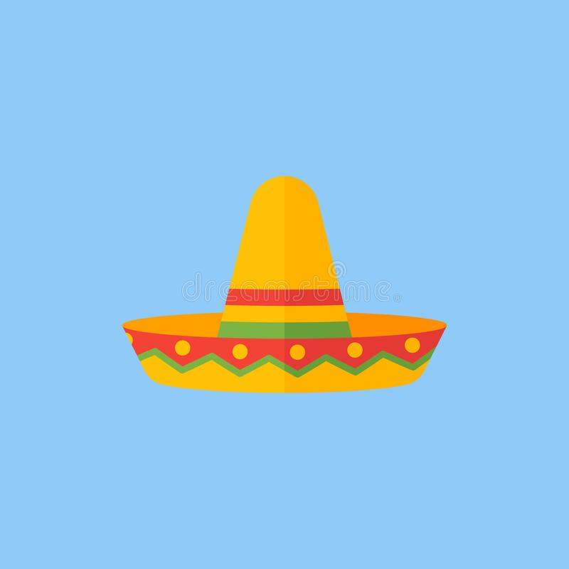 Mexican sombrero hat flat style icon. Vector illustration. Mexican sombrero hat isolated on blue background. Flat style icon. Vector illustration royalty free illustration
