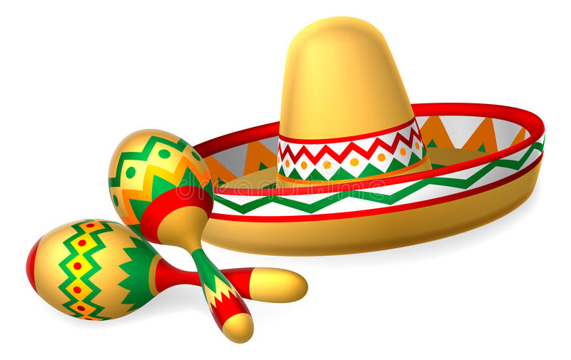 Mexican Sombrero Hat and Maracas Shakers. A Mexican sombrero hat and maracas shakers illustration stock illustration