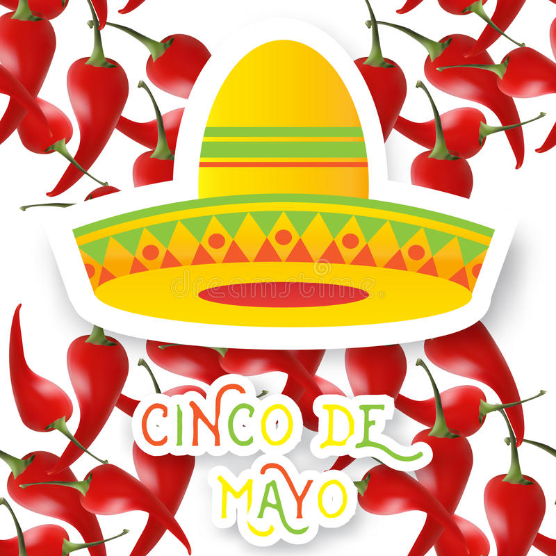 Mexican sombrero hat and red chili pepper jalapeno. Vector illustration royalty free illustration