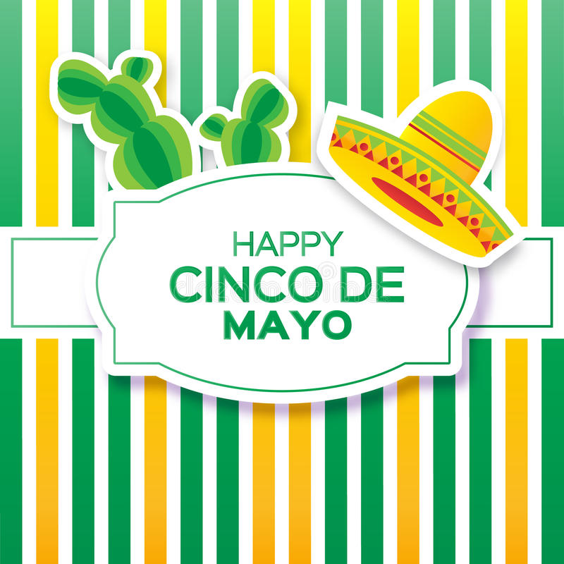 Mexican sombrero hat and succulents. Mexico, Carnival. Stripes yellow green background with cactus. Vector illustration vector illustration
