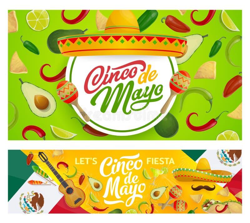 Mexican sombrero, maracas and Cinco de Mayo food. Cinco de Mayo holiday sombreros, guitar, maracas and moustaches vector design of Mexican fiesta party. Chilli royalty free illustration