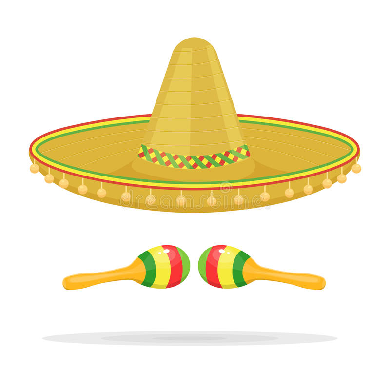 Mexican sombrero with maracas vector illustration isolated on white background vector illustration