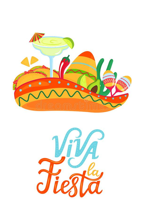 Mexican sombrero, margarita, maracas, cactus, tacos, avocado and chili pepper. Viva la fiesta hand draw lettering. Festive poster. For Cinco de Mayo and other royalty free illustration