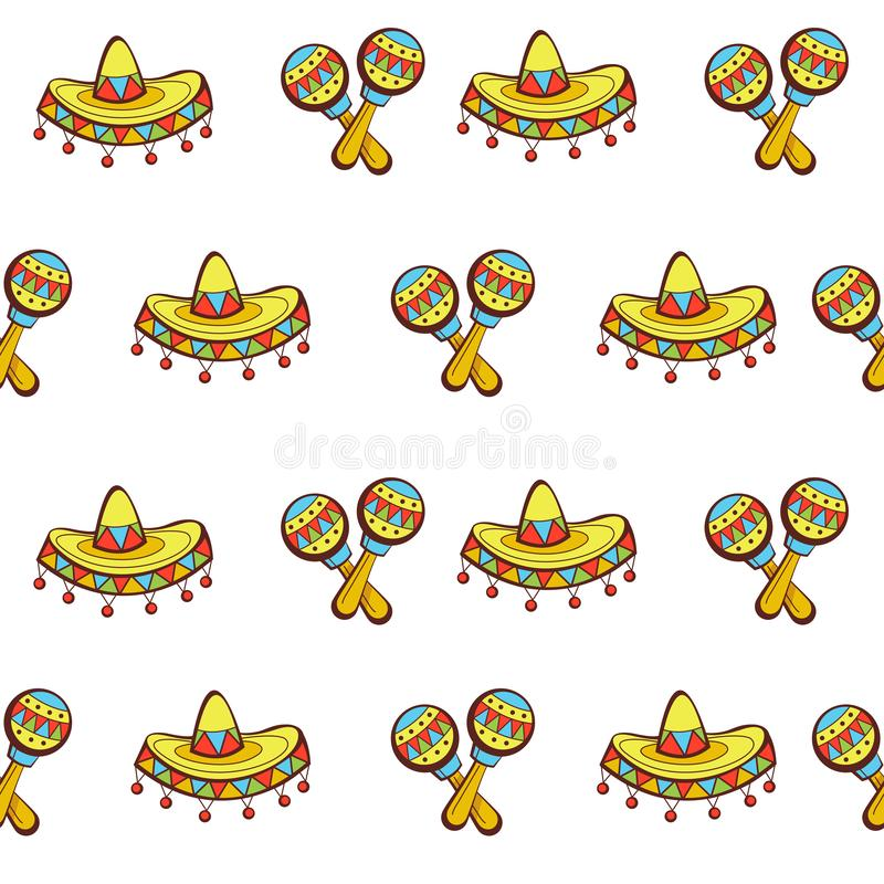 Seamless pattern on white background. Mexican hat and marocas. Mexican sombreros and maracas. Colorful seamless pattern on white background royalty free illustration