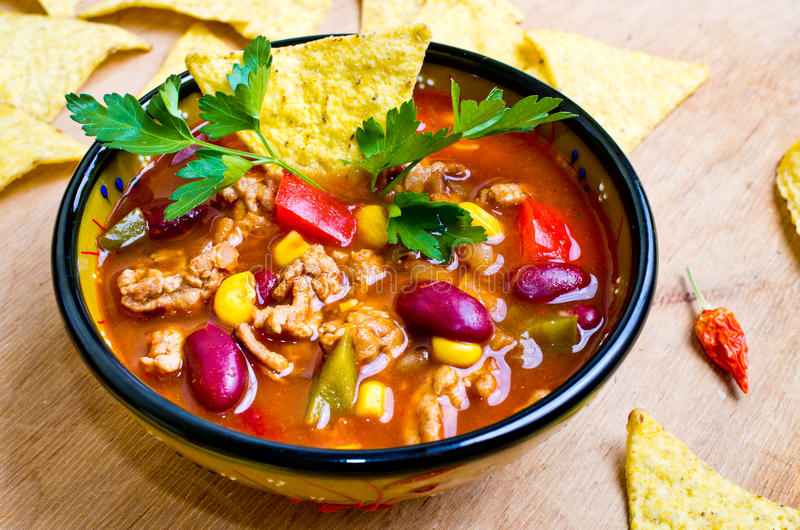 Mexican soup with tacos royalty free stock photos