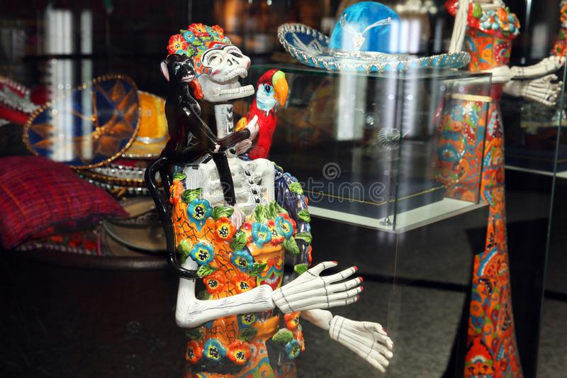Mexican Souvenirs in the shop, female skeleton sculpture stock photo