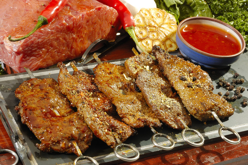 Mexican speciality Beef on spits royalty free stock images