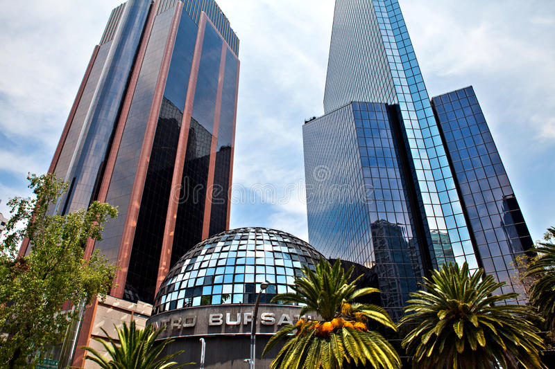 Mexican Stock Exchange building in Mexico city, Mexico. stock photography