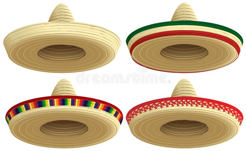 Mexican straw sombrero hat. Set cap vector illustration vector illustration