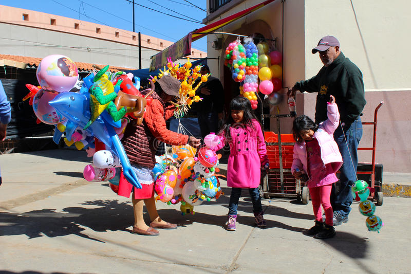 Mexican street balloon seller royalty free stock photography