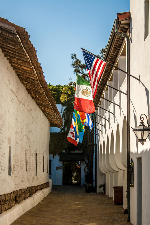 Mexican-style Alley, W/flags Stock Photography