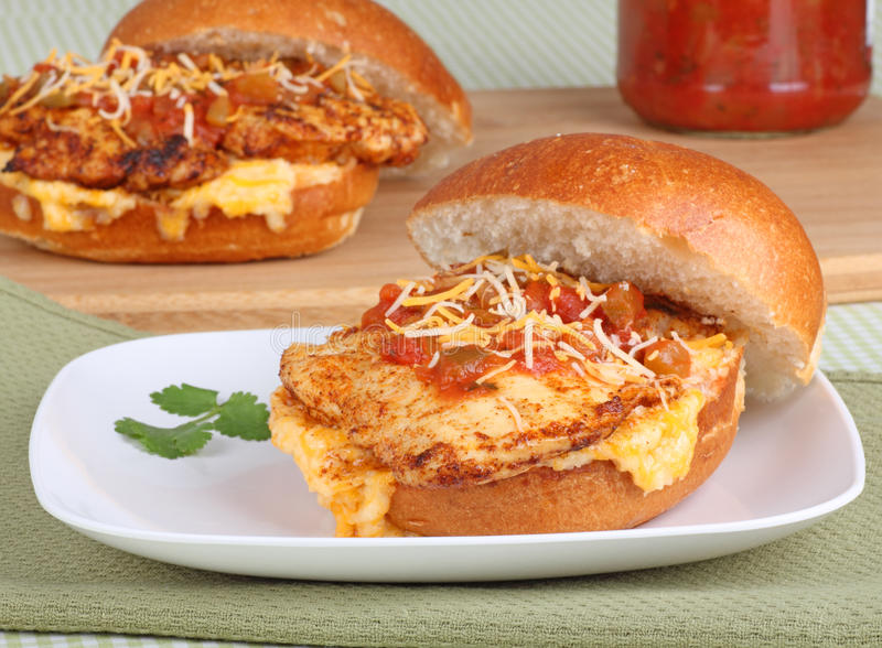 Mexican Style Chicken Sandwich stock images