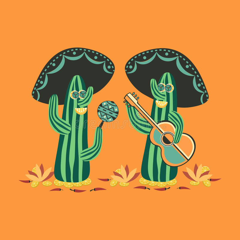 Mexican style. Cute cactus vector illustration