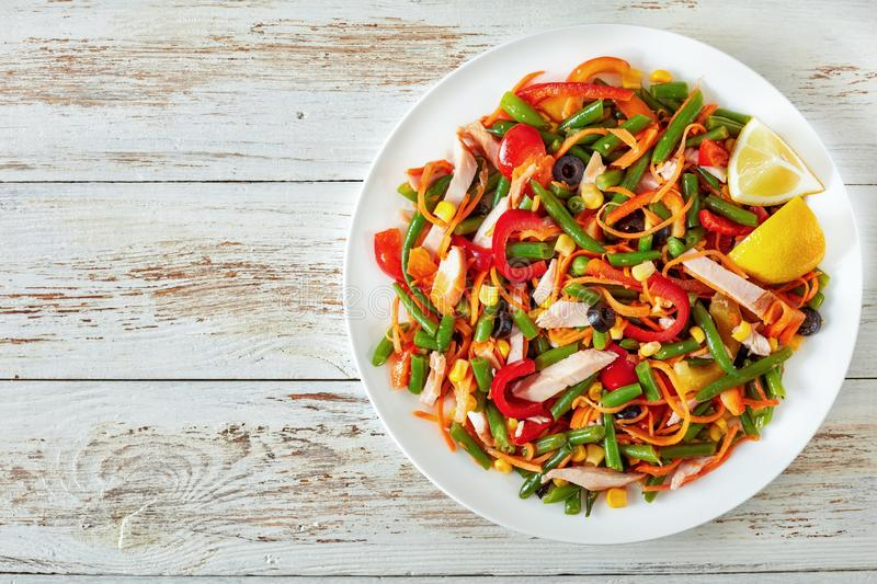 Mexican style healthy salad with green bean stock photo