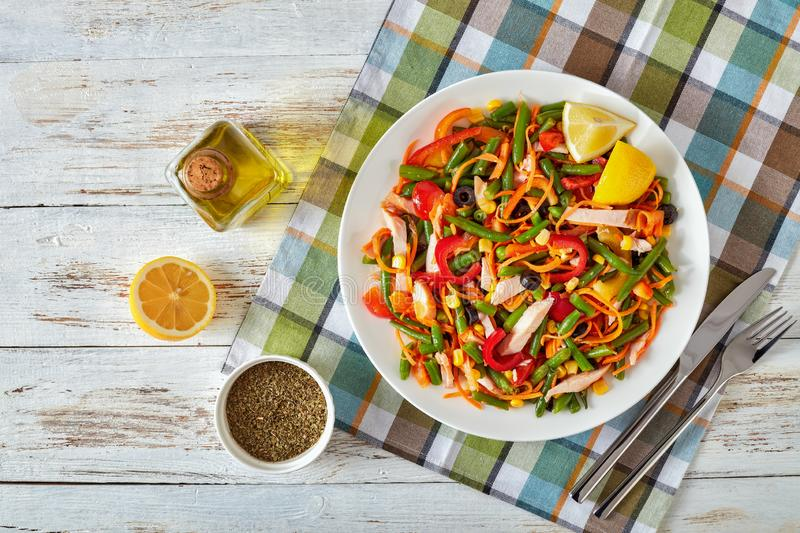 Mexican style healthy salad with green bean stock image