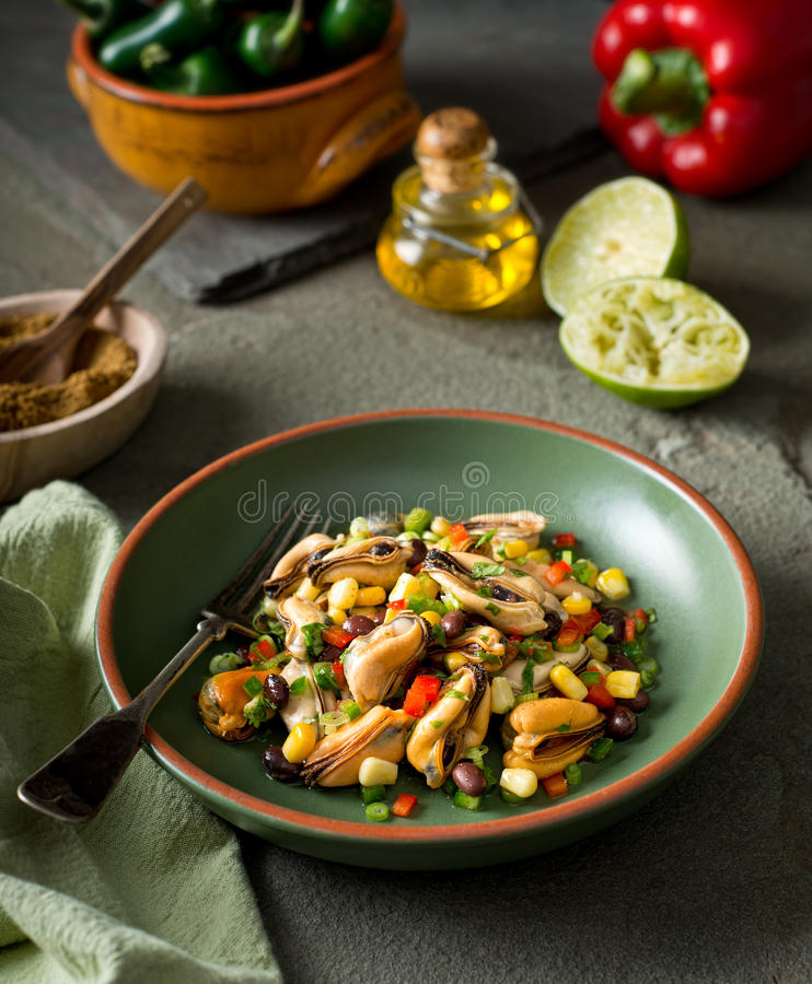 Mexican Style Mussel Salad royalty free stock photography