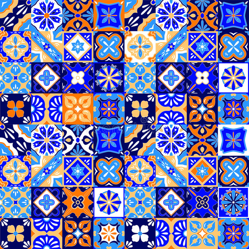 Mexican stylized talavera tiles seamless pattern in blue orange and white, vector stock illustration