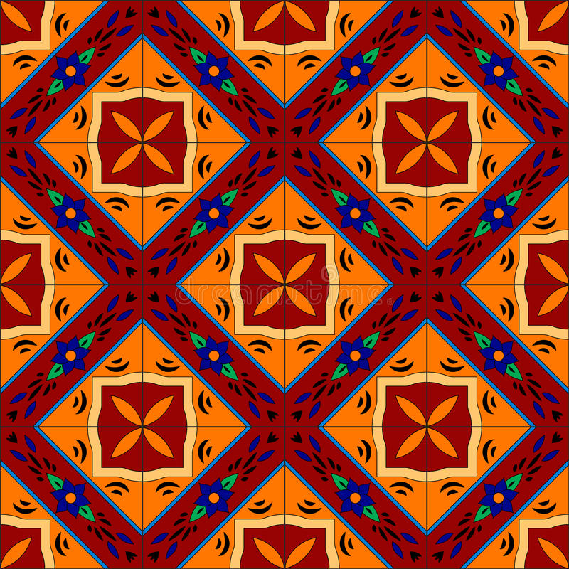 Mexican stylized talavera tiles seamless pattern in red and yellow, vector royalty free illustration