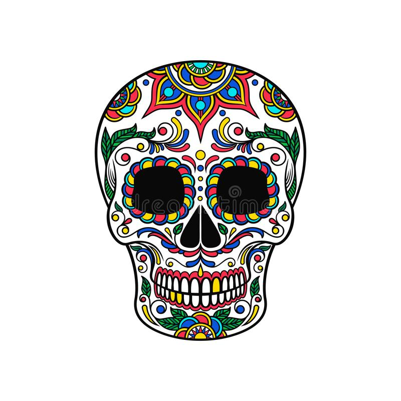 Mexican sugar skull with colorful floral ornament, Dia de Muertos vector Illustration. On a white background stock illustration