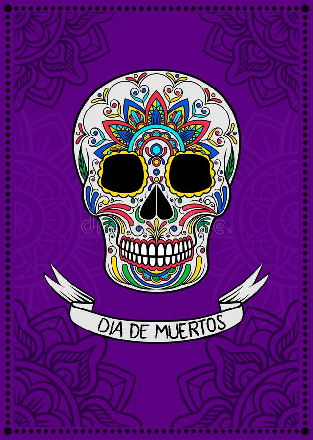 Mexican sugar skull with colorful floral pattern, Dia de Muertos, design element for poster, greeting card vector royalty free illustration