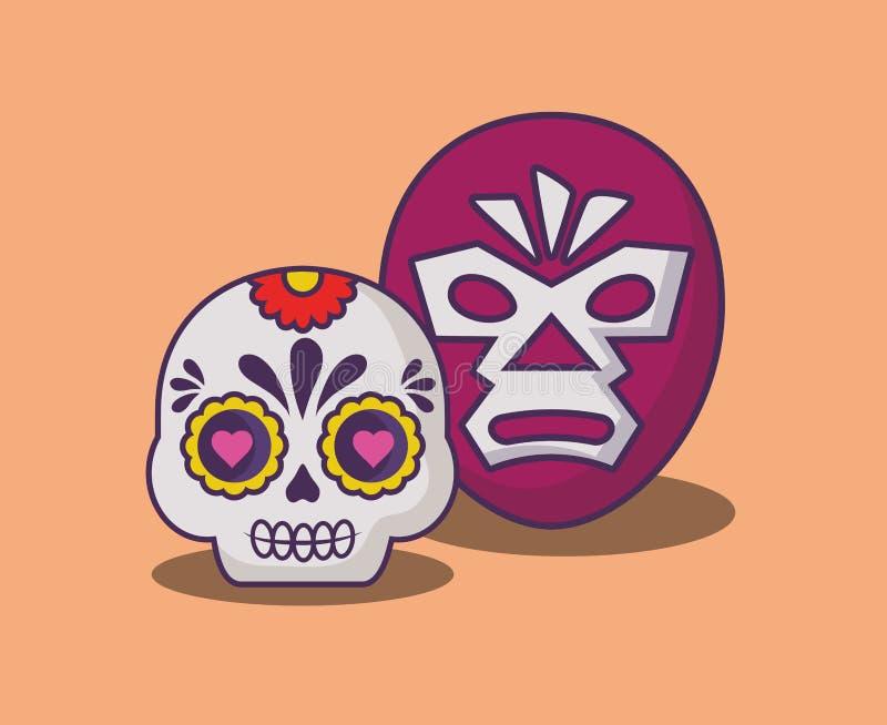 Mexican sugar skull design. Wrestler mask and sugar skull over orange background, colorful design. vector illustration vector illustration